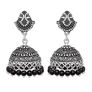 537d76b7f V L IMPEX Black Peacock Oxidised Silver Plated Jhumka Earrings for Women