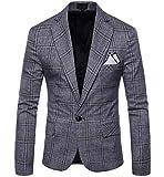 Abetteric Men Leisure Plaid Classics Retro Oversize Blazer Jacket Suits Grey XL