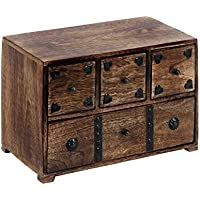Benzara 14427 Metal Stripes Box Decorated Wood Chest