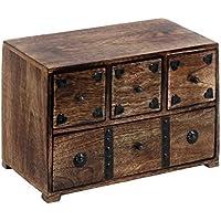 Benzara 14427 Metal Stripes Box Decorated Wood Chest