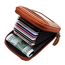 Prime Day Clearance Sale & Deals 2017-Compact Leather Key Holder Wallet Keychain Key Ring Women Men Key Pouch Wallet with ID Window