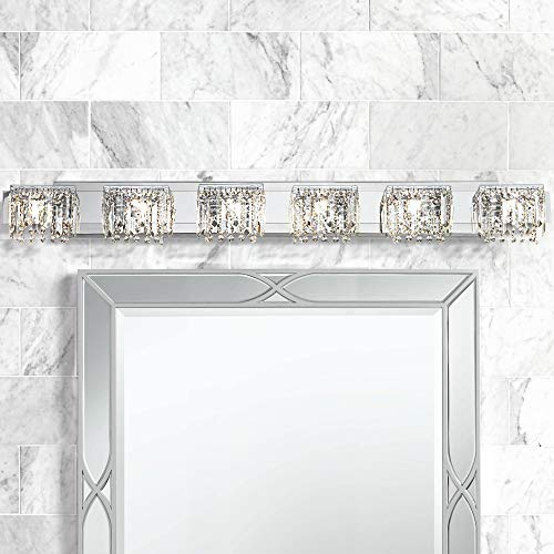 Modern Wall Light Chrome 50 3/4 Crystal Strand Fixture for Bathroom Over Mirror - Possini Euro Design
