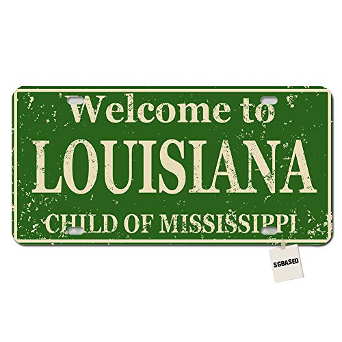 SGBASED Personalized Metal License Plate Cover Welcome to Louisiana License Plate for Car with 4 Holes(12 Inch X 6 Inch) - Child of - Souvenirs Novelties