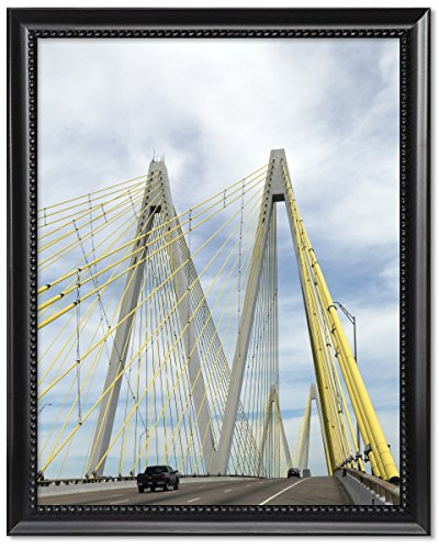 Black Wood Framed Print 11x14: The Fred Hartman Bridge In Baytown, Texas, - Of Pictures Baytown Texas