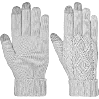 DG Hill Warm Texting Gloves For Women, Cable Knit Touchscreen Winter Text Gloves Cute & Cozy Fleece Lining
