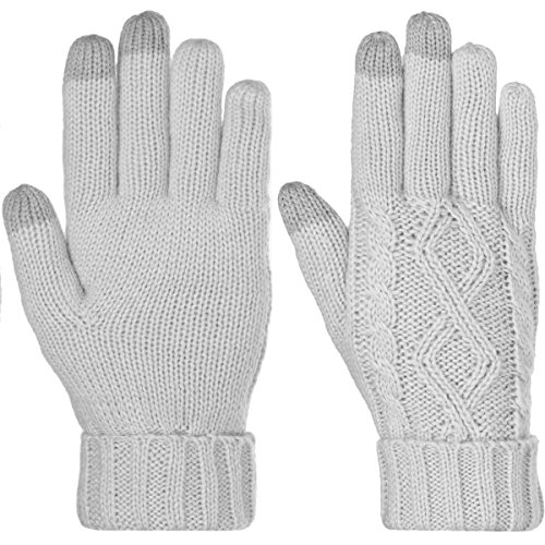 Dg Hill Warm Texting Gloves For Women  Cable Knit Touchscreen Winter Text Gloves Cute   Cozy Fleece Lining Light Gray  One Size
