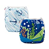 ALVABABY 2pcs Swim Diapers Reuseable Adjustable for Baby Gifts & Swimming Lessons (Boat Anchor& seafloor Word, 0-2 Years)