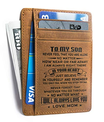 Minimalist Wallets Gift for son from Mom Slim Wallet Cowhide wallet RFID Front Pocket Wallet (To my Son - Love Mom)