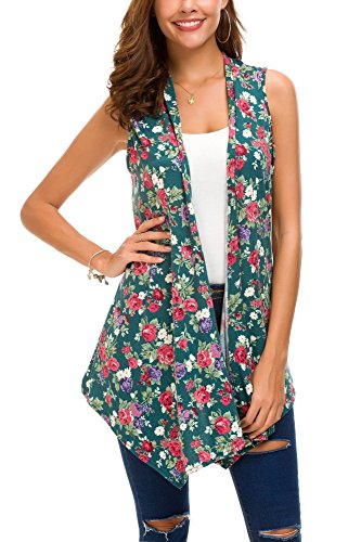 (Women's Sleeveless Draped Open Front Cardigan Vest Asymmetric Hem (S, 5))