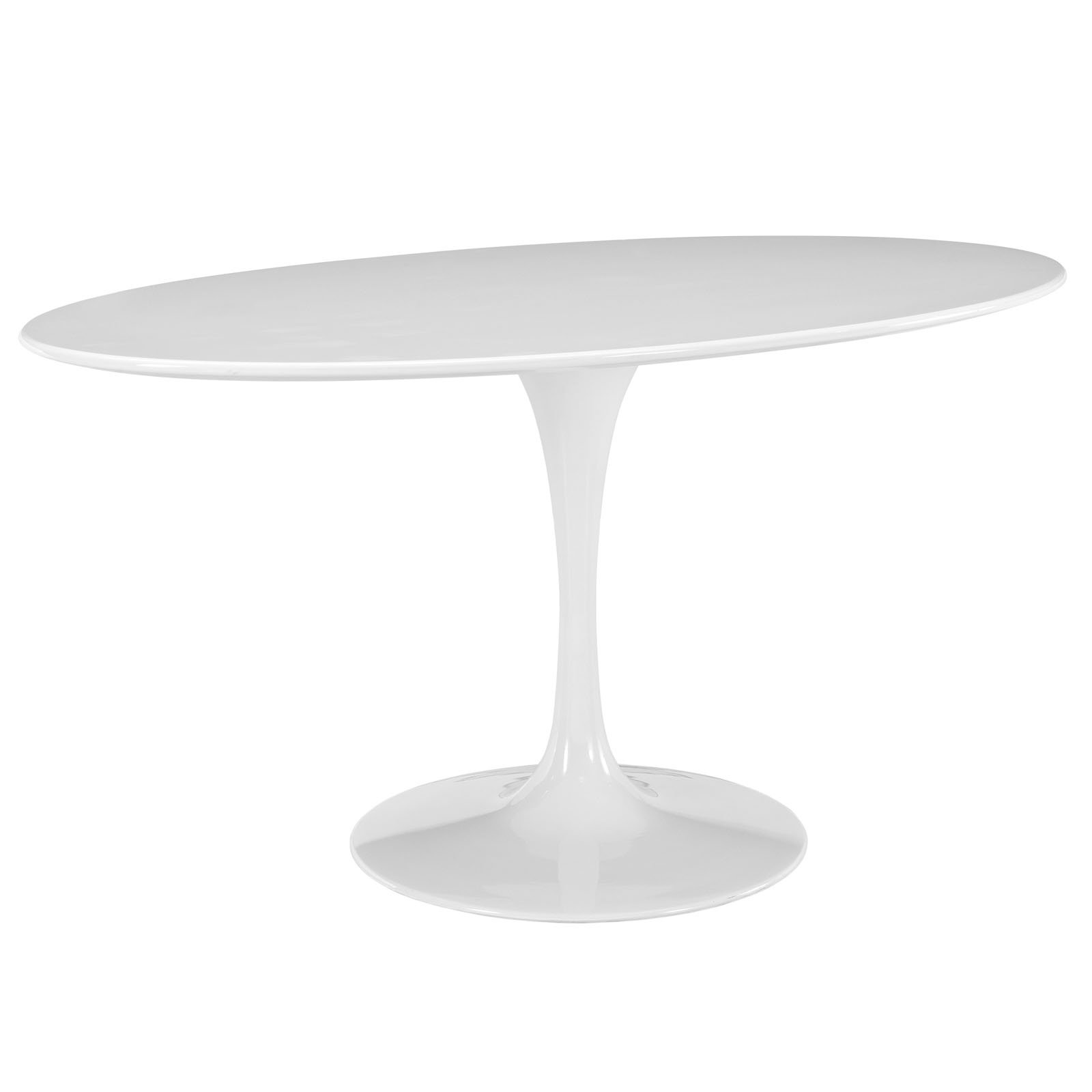 Modway Lippa 60'' Mid-Century Modern Kitchen and Dining Table with Oval Top and Pedestal Base in White by Modway (Image #2)
