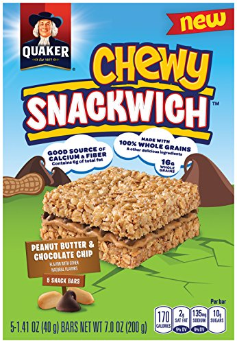 Quaker Chewy Granola Bars, Snackwich, Peanut Butter Chocolate Chip, 5 Bars Per Box (Pack of 8 (Quaker Chewy Peanut Butter)