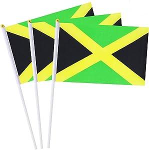Mflagperft Jamaica Flag Jamaican Small Stick Mini Hand Held Flags Decorations 1 Dozen (12 Pack)