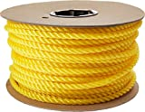 Cordage Source Twisted Poly Rope, 3/8-Inch by 225-Feet, Yellow