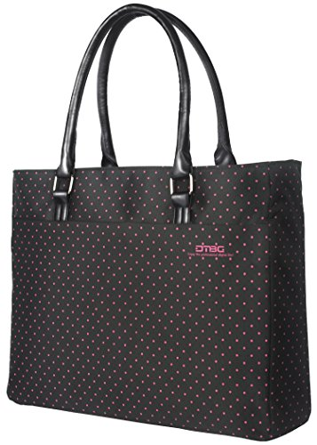 Laptop Tote Bag, DTBG 15.6 Inch Women Shoulder Bag Nylon Briefcase Casual Handbag Laptop Case For 15 - 15.6 Inch Tablet / Ultra-book / Macbook / Chromebook (Black+Pink Dot)