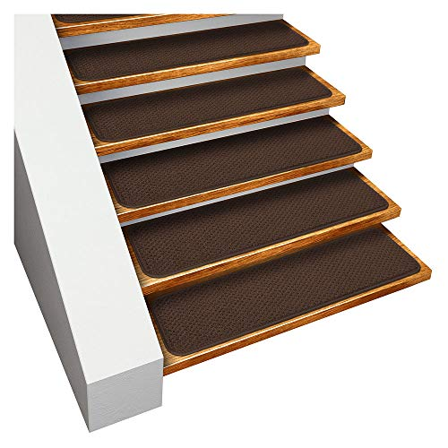 House, Home and More Set of 15 Skid-Resistant Carpet Stair Treads - Chocolate Brown - 9 in. X 36 in. - Several Other Sizes to Choose from