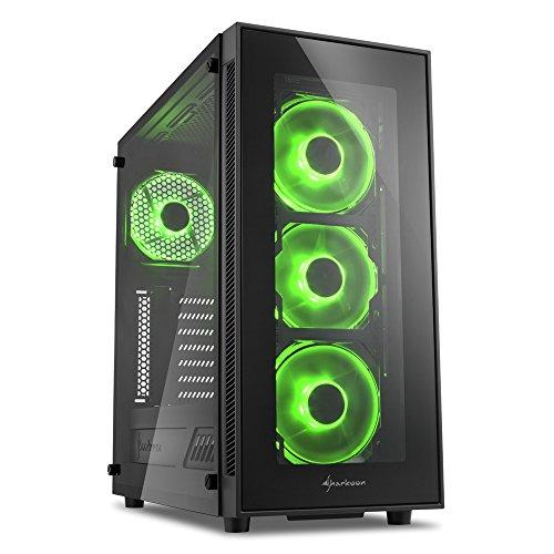 Sharkoon Tg5 - Caja De Ordenador Gaming (Semitorre Atx, Iluminación Verde, Cristal Templado, Incluye 4 Ventiladores Led, Admite Refrigeración Líquida), Negro