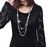 Ammazona New Pearl Rose sheet Womens Vintage Fashion Long Necklace Flower Chain