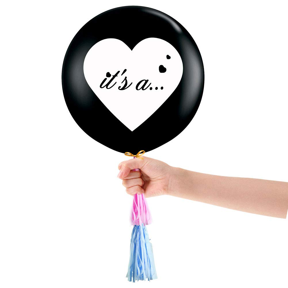 TBhappy 2Pcs Gender Reveal Balloon 36inch Giant Black Latex ...