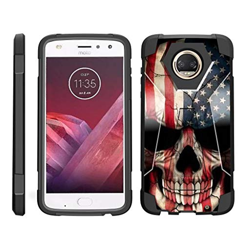 - TurtleArmor | Compatible for Motorola Moto Z2 Force Case | Moto Z2 Play Case [Dynamic Shell] Hybrid Dual Layer Hard Shell Kickstand Silicone Case - US Flag Skull