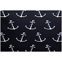 E by design RGN446BL14-23 Anchor Whimsy Geometric Print Indoor/Outdoor Rug, 2 x 3, Navy Blue