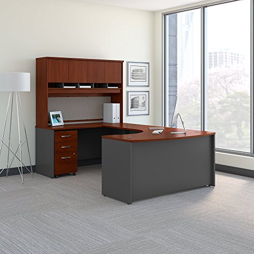 Bush Business Furniture Series C 60W Left Handed Bow Front U Shaped Desk with Hutch and Storage in Hansen Cherry (Series U-shape Computer)