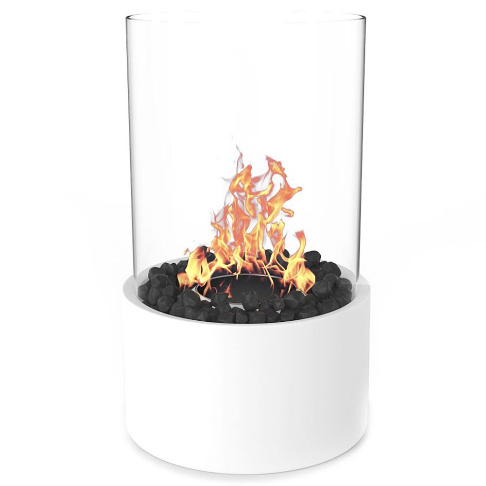 Regal Flame Eden Ventless Indoor Outdoor Fire Pit Tabletop Portable Fire Bowl Pot Bio Ethanol Fireplace in White - Realistic Clean Burning like Gel Fireplaces, or Propane Firepits