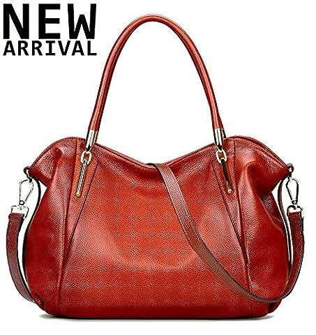 New Arrival Leather Satchel Purses and Handbags Shoulder Tote Crossbody Bag for Women,Jack&Chris,WBDZ023 (Red orange)