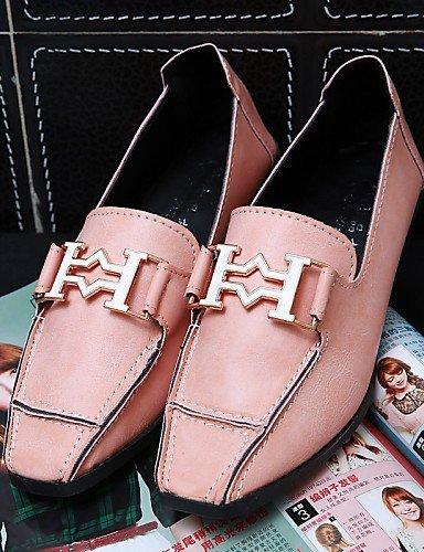 ShangYi Donna Casual Piatto Tempo Mocassini Pink Nero Rosa Punta Grigio pelle Scarpe squadrata libero Finta RrwRg5
