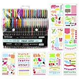 Bullet Journal Stencil Kit,BBLIKE 1.0mm 48PCS Colored Pens and 9Pcs Stencil Template for Gift Card Fineliner Color Pen Set,Bullet Journal Scrapbook Supplies 4x7 inches DIY Drawing Templates