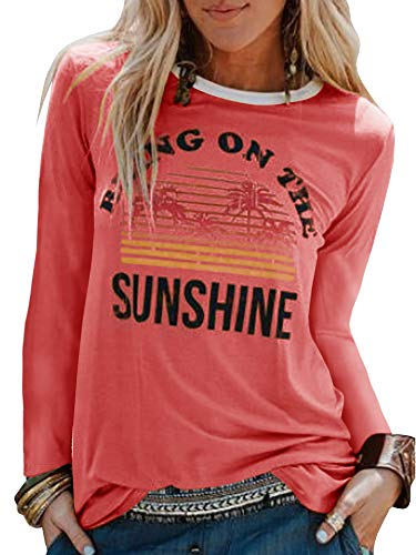 Umeko Womens Bring On The Sunshine Graphic Tees Letter Printed Casual Loose Summer T-Shirt (Small, 4-Pink) (Happiness Womens Pink T-shirt)