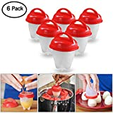 6 Pack Silicone Egg Boil, Simuer Egg Poacher Egg Cooker Hard & Soft Maker No Shell Non Stick Poacher Boiled Steamer 6 Egg Cups Egg Tools AS SEEN ON TV