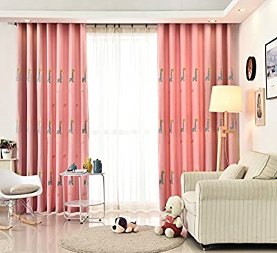 WPKIRA Thermal Insulated Semi Blackout Panel Curtain 52 By 63 Inch Pink Cartoon Children Window Treatments Giraffe Embroidered Linen Grommet Curtain Panels for Blackout Curtains for Girls Room