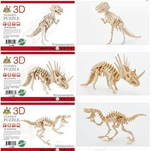 OPCC 3D Wooden Simulation Animal Dinosaur Assembly Puzzle Model Toy for Kids and Adults,3-piece Set by YHWWER (Simulation Animal)