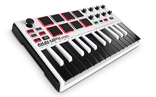 Akai Professional MPK Mini MKII White | 25-Key Ultra-Portable USB MIDI Drum Pad & Keyboard Controller with Joystick, VIP Software Download Included - Limited (Mobile Dj Package)