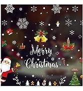 Coavas Snowflake Window Sticker Christmas Holiday Decorative No Glue Christmas Window Clings with...