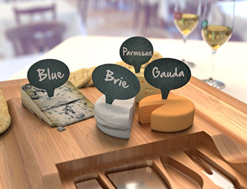Cheese Marker Gift Set of 4 Cheese Labels & 2 Chalk Markers - Wine and Cheese Tasting Gift Set - Washable Cheese Markers - Gifts for Wine Lovers - by HouseVines