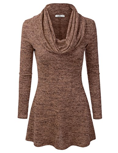 Doublju Marled Cowl Neck A-Line Tunic Sweater Dress Top For Women With Plus Size (Made In USA) Mocha (Brown Juniors Dress)