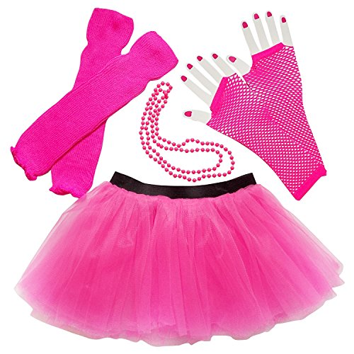 Best 1980's Costumes (Womens Teen 80's Costume & Accessories - Tutu Leg Warmers Fishnet Gloves Beads (Hot Pink))