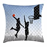 Lunarable Boy's Room Throw Pillow Cushion Cover, Basketball in the Street Theme Two Players on Grungy Damaged Backdrop, Decorative Square Accent Pillow Case, 16 X 16 Inches, Pale Blue Grey Black