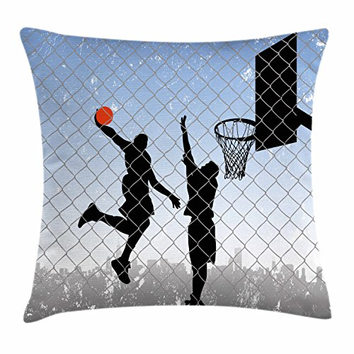 Lunarable Nursery Throw Pillow Cushion Cover, Basketball in The Street Theme Two Players on Grungy Damaged Backdrop, Decorative Square Accent Pillow Case, 18 X 18 Inches, Pale Blue Grey and Black ()