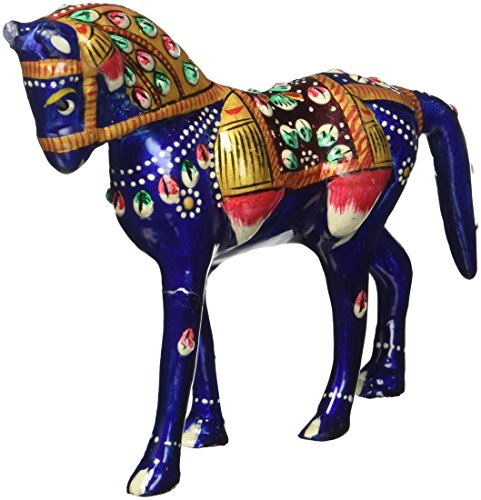 SouvNear Horse Statue - Hand Painted Blue Metal Small Stallion Horse Figurine - Handmade Cute Pony Meenakari Work - Unique and Decorative Office & Home Decor Sculpture