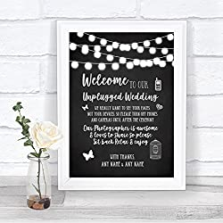 Chalk Style Black & White Lights No Phone Camera Unplugged Wedding Sign