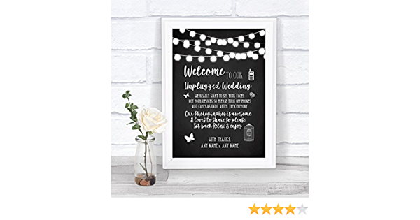 Chalk Style Black /& White Lights Collection Chalk Style Black /& White Lights No Phone Camera Unplugged Wedding Sign