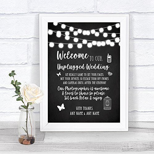 Chalk Style Black & White Lights No Phone Camera Unplugged Wedding Sign by The Card Zoo (Image #2)