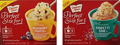 Duncan Hines Perfect Size For 1 Sunrise Blueberry Muffin amp Funtastic Confetti Cake Varity Bundle