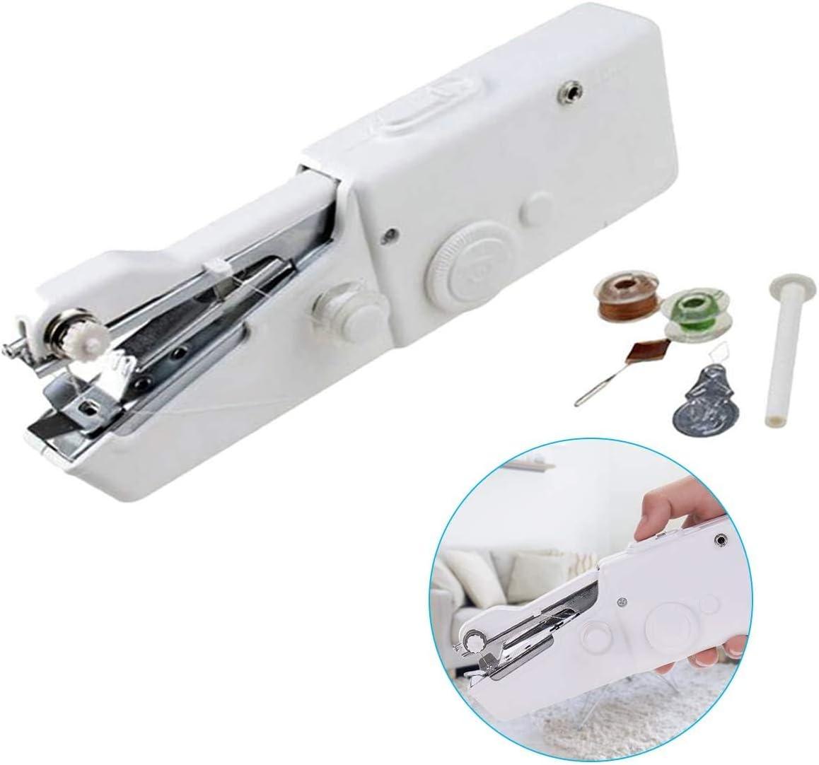 ZGL Mini máquina de coser portátil de mano, fácil de usar, puede reparar rápidamente la ropa, utilizada para varias telas