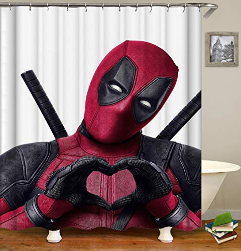 BARTORI Simple Decor Shower Curtain The Marvel Superstar Deadpool on The White Background Funny and Cute Waterproof Polyester Fabric Bath Curtain with 12pcs Hooks Size 71''X71''