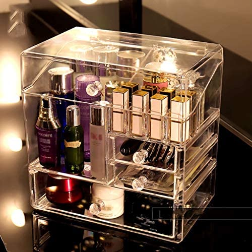 LFOZ 透明大容量家庭用化粧品収納ボックス防塵アクリル口紅スキンケアラック透明紫 (Color : Clear)