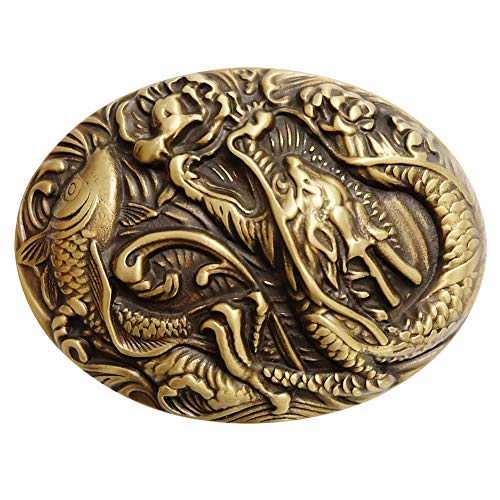 Copper Belt Buckle for Men, Ancient Chinese Mythology,The Carp Has Leaped Into The Dragon's gates, Emboss,Suitable for Belts Up To 1.55in In Width