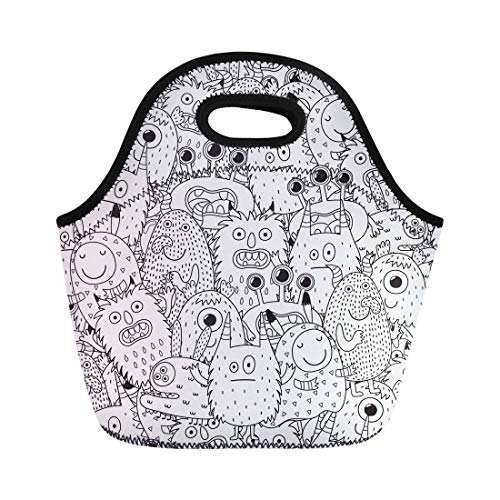 Semtomn Lunch Tote Bag Halloween Funny Monsters for Coloring Book Black and Adult Reusable Neoprene Insulated Thermal Outdoor Picnic Lunchbox for Men Women ()